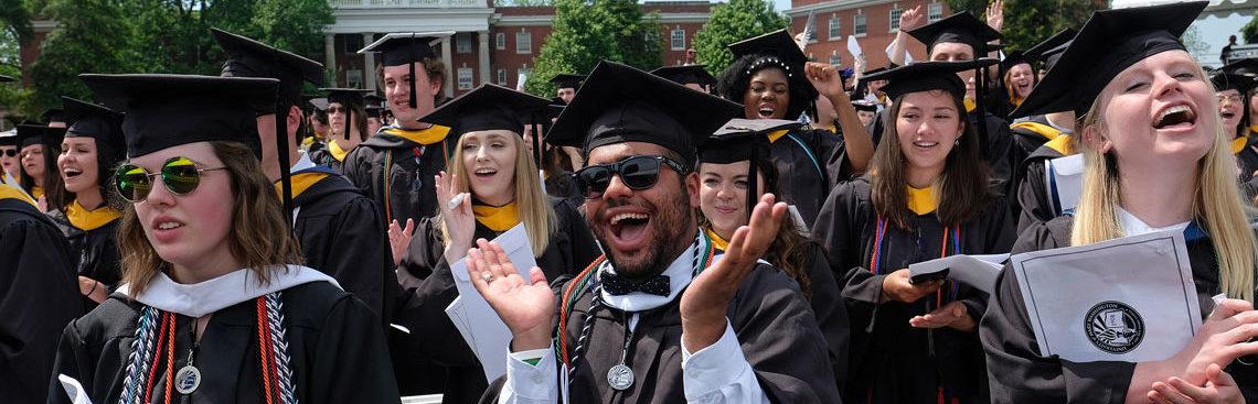 students celebrating at graduation